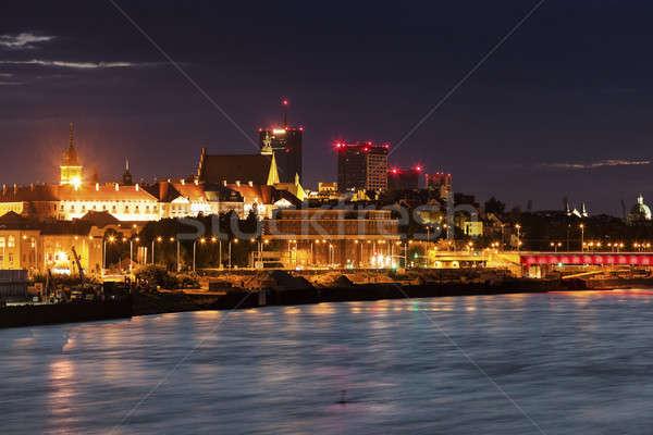 Oude binnenstad Warschau rivier zonsondergang gebouw stad Stockfoto © benkrut