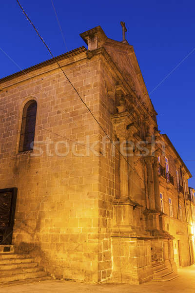 Kerk dawn regio stad Blauw skyline Stockfoto © benkrut