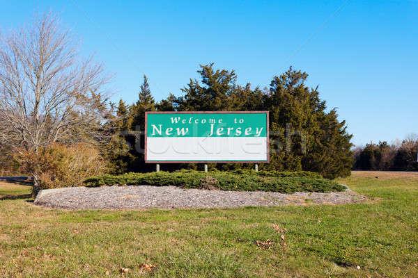 приветствую Нью-Джерси дорожный знак дерево дороги зеленый Сток-фото © benkrut