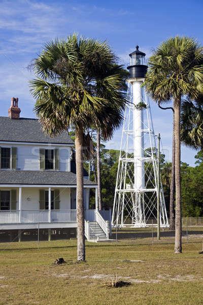 Маяк Флорида США пляж дерево свет Сток-фото © benkrut