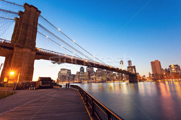 Brooklyn Bridge in New York at evening Stock photo © benkrut