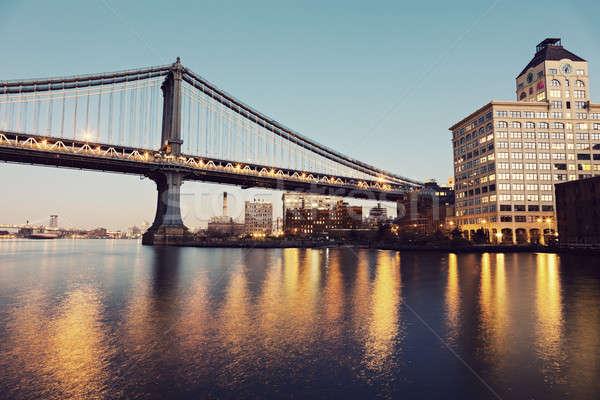 Stockfoto: Manhattan · brug · nieuwe · avond · gebouw · zonsondergang