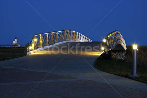 Pedestrian bridge by the Lakefront in Milwaukee Stock photo © benkrut