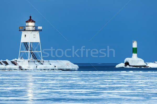 Faro Minnesota USA ghiaccio blu viaggio Foto d'archivio © benkrut