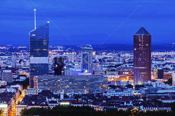 Modern építészet Lyon épület utca kék utazás Stock fotó © benkrut