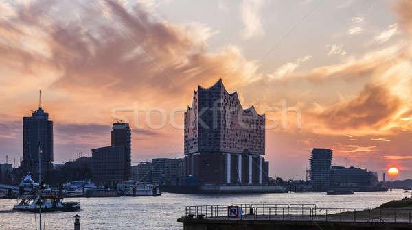 Hamburg architectuur rivier zonsopgang Duitsland Stockfoto © benkrut