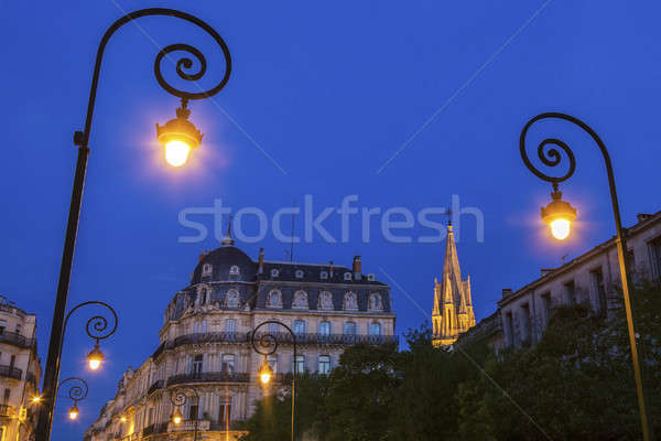 Rua lâmpadas igreja céu edifício azul Foto stock © benkrut