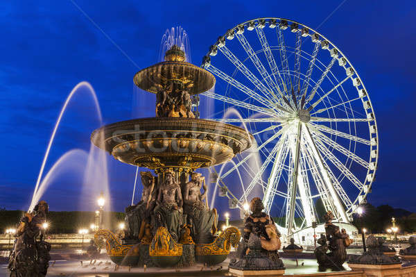 Fontaine des Fleuves and Ferris Wheel on Place de la Concorde in Stock photo © benkrut