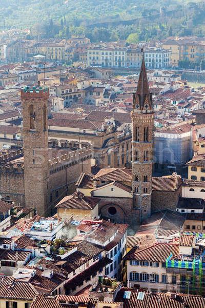 Stockfoto: Luchtfoto · florence · Toscane · Italië · huis · zonsondergang
