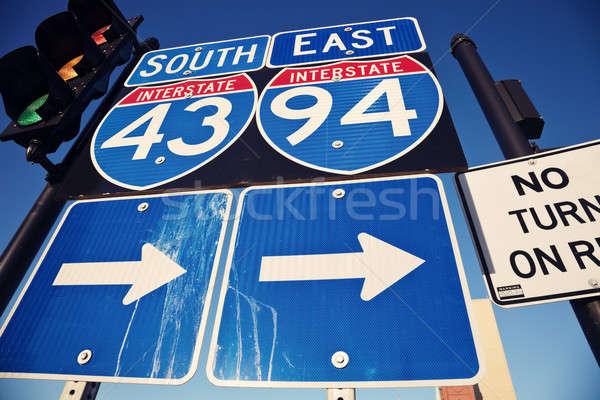 Zwischenstaatlichen Innenstadt blau Wisconsin Stock foto © benkrut