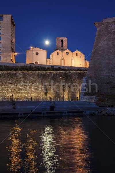 Igreja Marselha lua azul urbano linha do horizonte Foto stock © benkrut