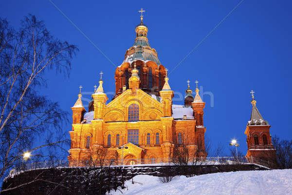 Cathédrale Helsinki Finlande ciel bâtiment croix Photo stock © benkrut