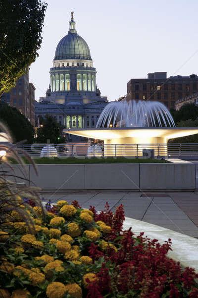 Wisconsin bâtiment crépuscule ciel architecture Photo stock © benkrut