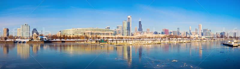 Winter panorama of Chicago Stock photo © benkrut