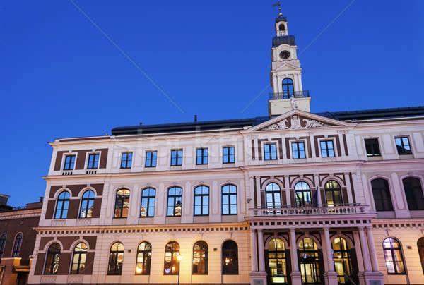 Riga şehir salon gece Letonya mavi Stok fotoğraf © benkrut