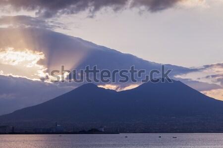 Panorama of Naples with Vesuvius at sunrise Stock photo © benkrut