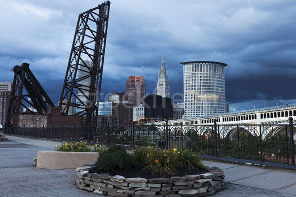 Heavy clouds over Cleveland Stock photo © benkrut