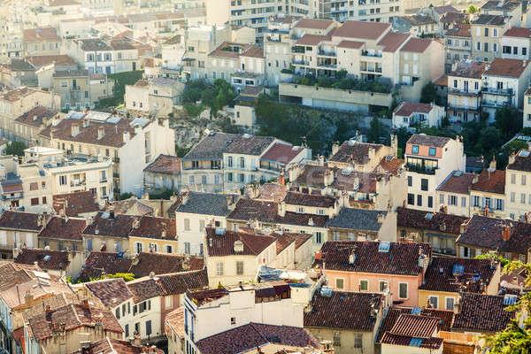 Tetők Marseille légifelvétel épület kék városi Stock fotó © benkrut