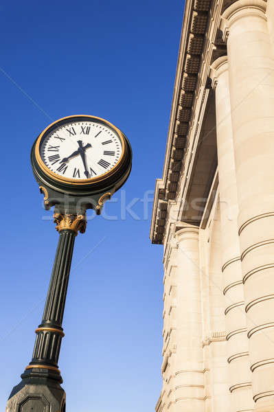 Horloge Union gare ville hiver bleu Photo stock © benkrut