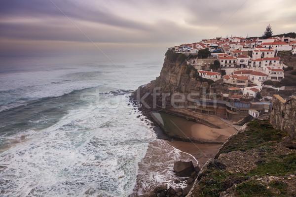 Foto stock: Panorama · praia · cidade · vermelho · onda · europa