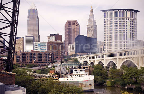 Big Ship on Cuyahoga River Stock photo © benkrut