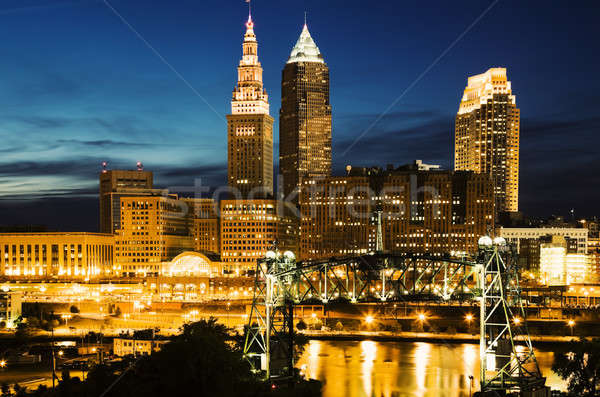 Cleveland during blue evening Stock photo © benkrut