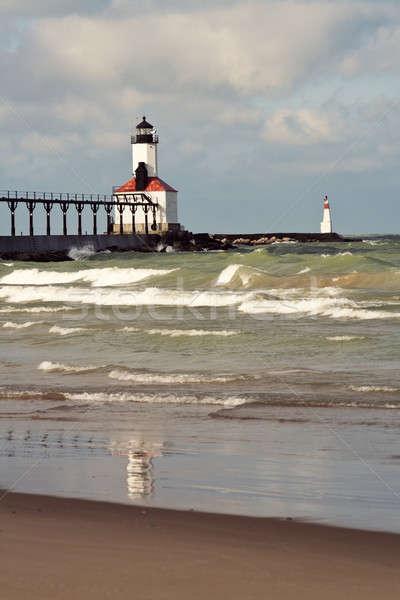Faro Michigan città Indiana lago Foto d'archivio © benkrut