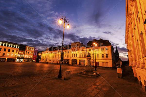 старый город квадратный синий путешествия Восход Skyline Сток-фото © benkrut