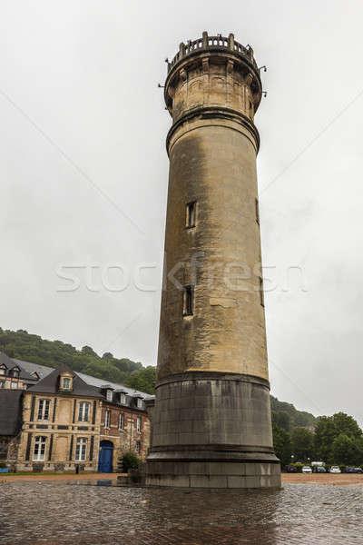 Маяк дождливый день Нормандия небе город Сток-фото © benkrut