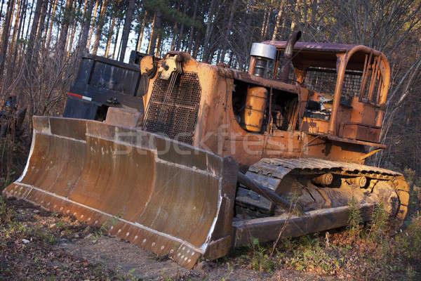 Velho escavadeira abandonado floresta árvore tecnologia Foto stock © benkrut
