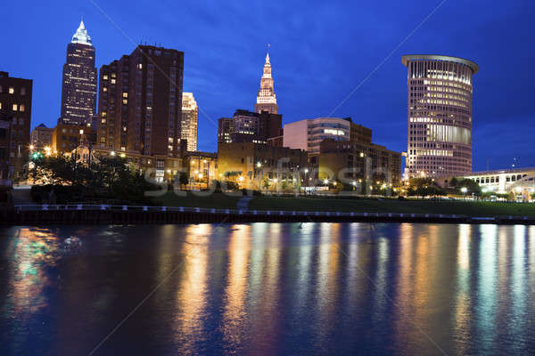 Blue evening by Cuyahoga River Stock photo © benkrut