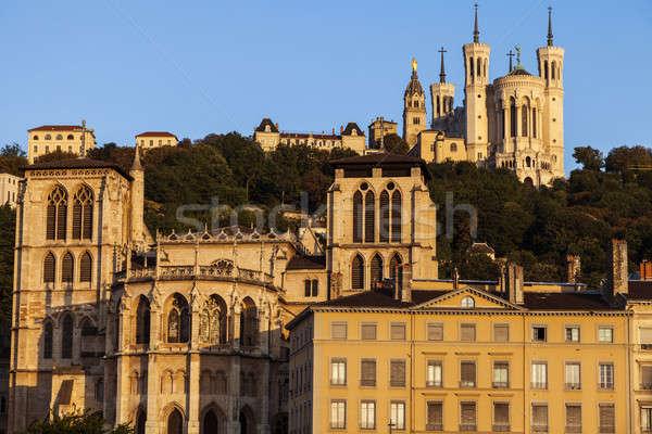 Bazilika Lyon katedrális reggel épület sziluett Stock fotó © benkrut