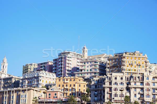 Genoa panorama in the morning Stock photo © benkrut
