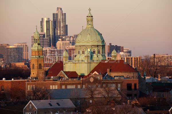 Sul lado Chicago igreja centro da cidade edifícios Foto stock © benkrut