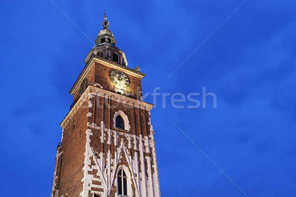 Városháza Krakkó Lengyelország város este idő Stock fotó © benkrut