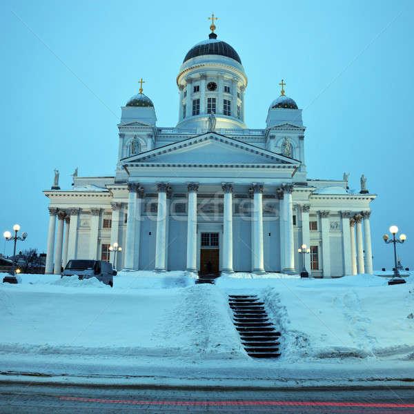Katedral kış sabah Bina sokak Stok fotoğraf © benkrut