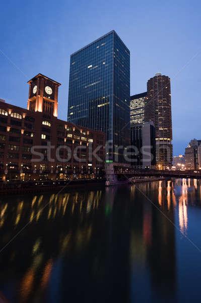 Foto stock: Arquitetura · Chicago · rio · noite · Illinois · EUA