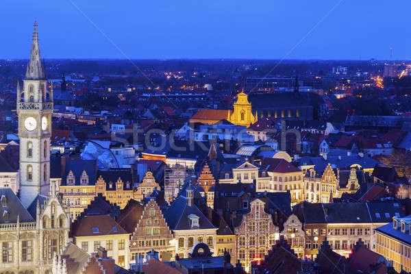 Ghent Clock Tower and city panorama Stock photo © benkrut