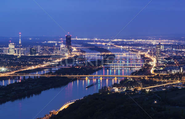 Vienna skyline and Danube River Stock photo © benkrut