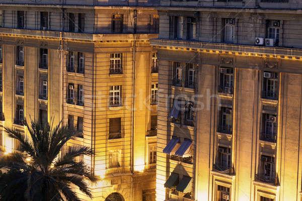 Arhitectura veche Santiago Chile constructii palmier călători Imagine de stoc © benkrut