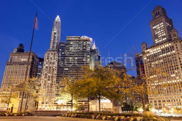 Foto stock: Chicago · arquitetura · rio · pôr · do · sol · azul