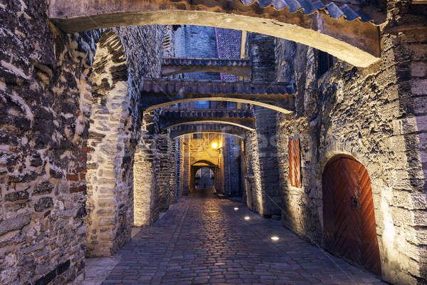 Pasaje noche calle puerta viaje piedra Foto stock © benkrut