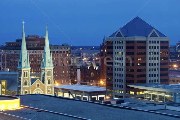 Foto stock: Noite · Indiana · EUA · janela · azul · viajar