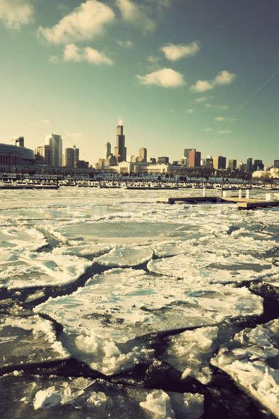 Winter Chicago centrum Stockfoto © benkrut