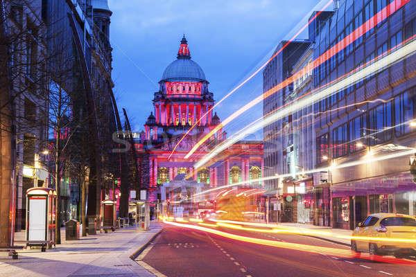 Belfast stad hal verlicht noordelijk Ierland Stockfoto © benkrut