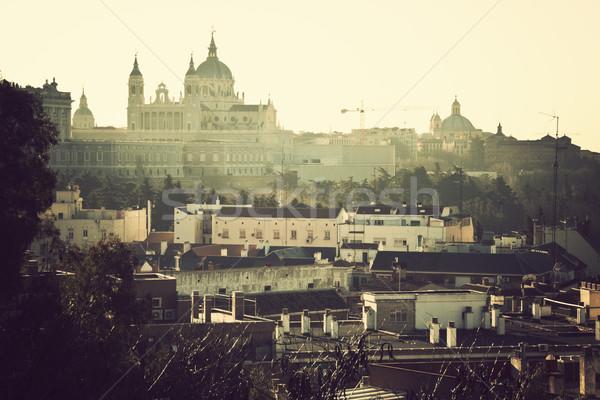 Distant view of Cathedral Nuestra Senora de la Almudena   Stock photo © benkrut