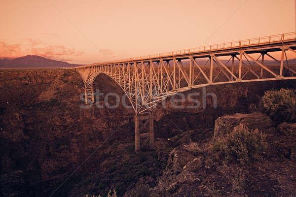 Rio köprü New Mexico inşaat gün batımı Stok fotoğraf © benkrut
