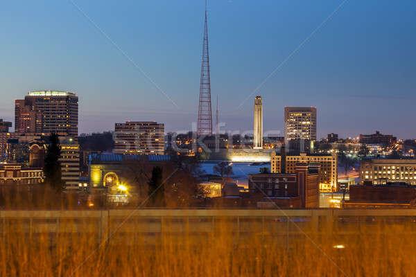 şehir panorama kar seyahat ufuk çizgisi mimari Stok fotoğraf © benkrut