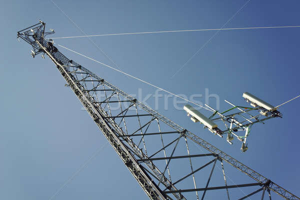 Crew installing boom with antennas Stock photo © benkrut