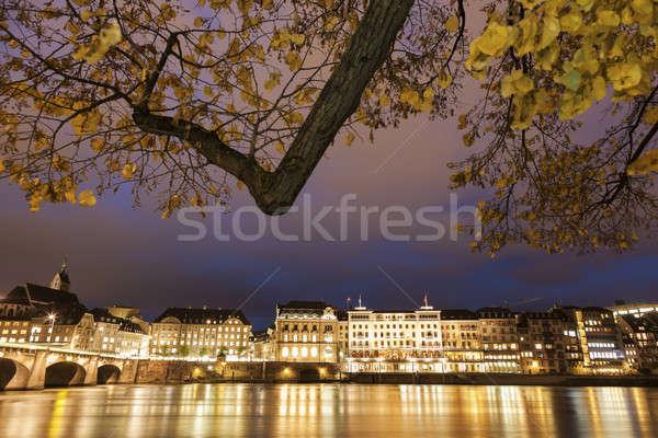 Basel architecture along Rhine Riveer. Basel, Basel-Stadt, Switz Stock photo © benkrut